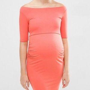 ASOS Maternity Dress Bardot Coral body-con 6